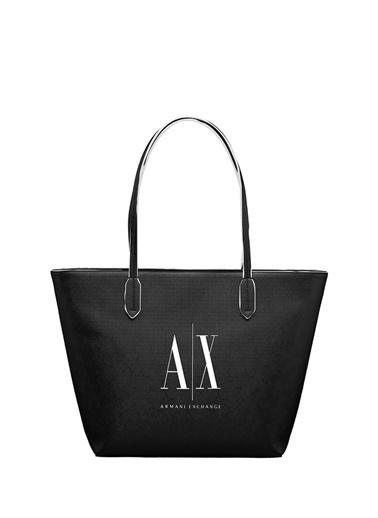 Armani Exchange Armani Exchange Logo Baskılı Kadın Alışveriş Çantası Siyah